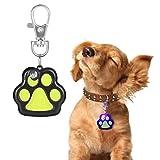 OFKPO LED Hunde Namensschild,Hundemarke mit Haken und Kontaktinformation(Hundepfoten)