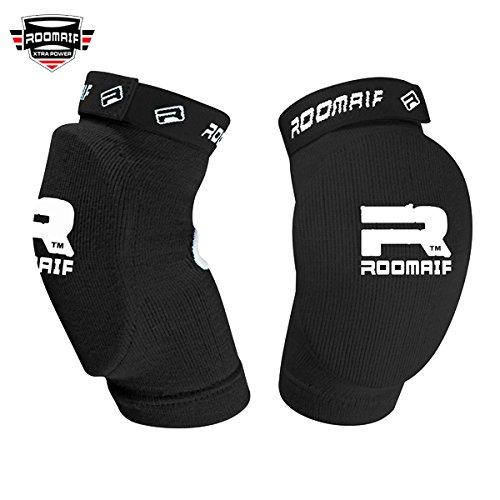 ROOMAIF Ellenbogenschützer Ellenbogenschoner Ellenbogen Bandagen Kickboxen MMA Kampfsport Elbow Pads DE (Schwarz, Einheitsgröße)