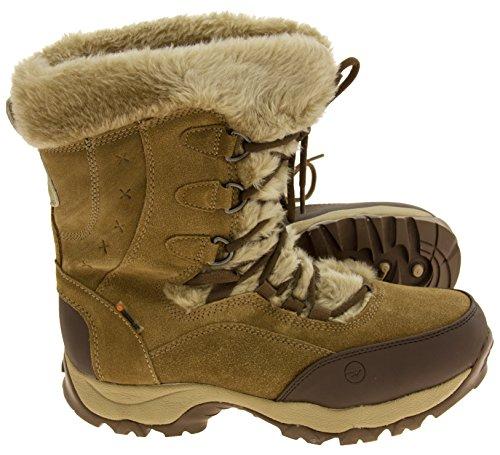Donna Hi-Tec pelle scamosciata impermeabile stivali da neve d'inverno Marrone