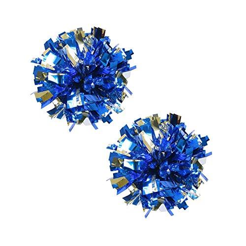 Lot de 2 plastique Anneau Pom Poms Metallic Cheerleading 100g Argent+Bleu