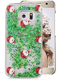 Hart Hülle für Galaxy S6 Edge,Glitzer Handyhülle für Galaxy S6 Edge,Moiky Luxus Lustige Weihnachten Hüte Muster 3D Sterne Treibsand Crystal Weich TPU Schwebend Stoßfest Kratzfeste Schutzhülle