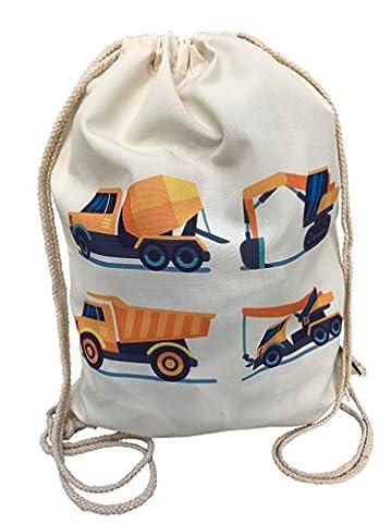 Kinder Turnbeutel für Jungen Jungs | beidseitig mit 4 Fahrzeugen, Bagger bedruckt | für Kindergarten, Krippe, Reise, Sport | geeignet als Gymsack, Rucksack, Spieltasche, Sportbeutel, Schuhbeutel - von