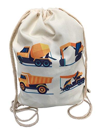 Kinder Baumwolle Turnbeutel für Jungen Jungs | beidseitig mit 4 Fahrzeugen, Bagger bedruckt | für Kindergarten, Krippe, Reise, Sport | geeignet als Rucksack, Spieltasche, Sportbeutel - von HECKBO (Adidas Krippe)
