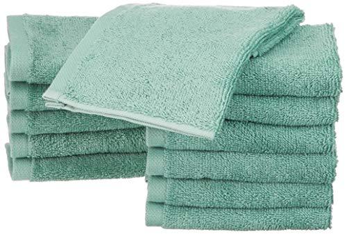 AmazonBasics - Waschlappen aus Baumwolle, 12er-Pack, Meerschaum-Grün - Grüne Waschlappen