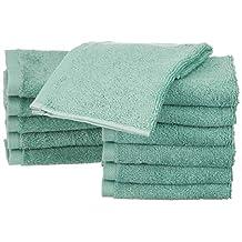 AmazonBasics Cotton Washcloths - 12-Pack, Seafoam Green