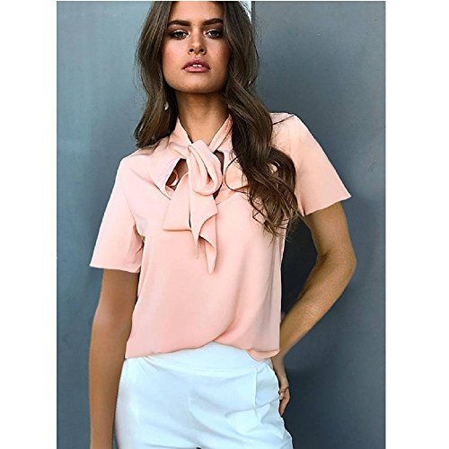 Women Lace-Trim Top T-Shirt Pink Short Sleeve