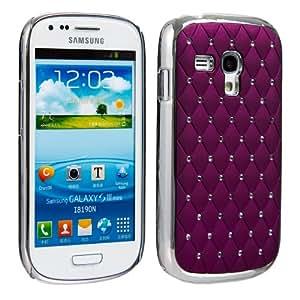 Invero® Chrome Finish Crystal Diamond Design Bling Case for Samsung Galaxy S3 Mini i8190 with Screen Protector, Micro Fibre Cloth and Application Card (Purple)