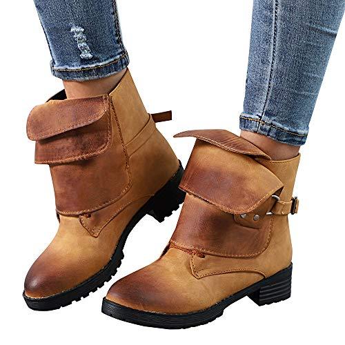 b6eb6f9e80e5 Stiefel Damen Halbschaft Warm Mittlere Flache Wasserdichte Stiefel  Klassische Outdoor Boots Schuhe.