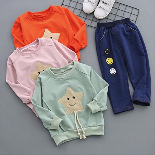 AmazingDays 2Pcs Infant Toddler Baby Boys Girls Smile Star Tops+Pants Outfits Clothes Set Baby Newborn Boys Unisex Outfits Bodysuit Rompers Jumpsuit Hooded Spring Summer Short Vest Clothes