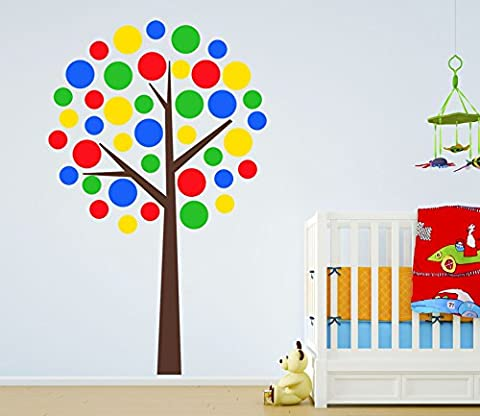 Design Divil's Premium Large Multi-Coloured Polka Dot Tree. Quality Matte Wall Decal Sticker (Brown Trunk)