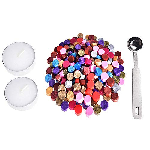 Colorful 230 Stücke Siegellack Perlen Stempel Dichtung Stick Zubehör mit 2 Stücke Kerzen und 1 Stück Schmelzlöffel für Stempel Versiegelung (Mehrfarbig)