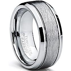 Ultimate Metals Co. Bague De Mariage en Tungstène Finition Mat Satinée Brossé Pour Homme, Intérieur Confort,8 mm Taille 57