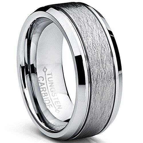 Ultimate Metals Co. Bague De Mariage en Tungstène Finition Mat Satinée Brossé Pour Homme, Intérieur Confort,8 mm Taille 59