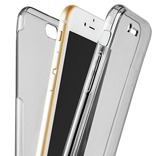 HB-Int 3 in 1 Durchsichtige TPU Hülle für iPhone SE iPhone 5 / 5S 360 Grad Doppelseitig Case 2 Stücke Schale Bildschirm Schutzhülle Full Body Cover Dünn Flexible Silikon Leicht Weich Handytasche Porte Grau