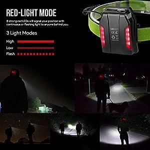LE Linterna frontal USB LED Potente 1150lm, con Luz trasera Roja, 3 modos, Función de Zoom, Cabezal Ligero, cable USB incluido, ideal para deporte nocturno, correr, caminar