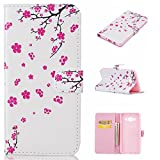 For Samsung Galaxy J5 (2016) SM-J510F Leather Flip Case Cover,Ecoway Colorful Painted PU Leather Stand Function Protective Cases Covers with Card Slot Holder Wallet Book Design,Soft TPU Silicone Inner Bumper Full Protection Cover for Samsung Galaxy J5 (2016) SM-J510F - Peach