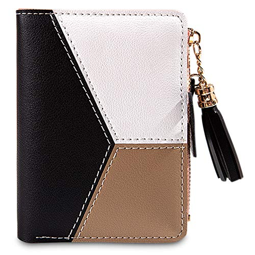 dbörse Mini Kurz Multi Slots Kleine Brieftasche Portemonnaie Geldbeutel Portmonee PU Leder Quaste Reißverschluss Kartenhalter Lederfach (Schwarz) ()