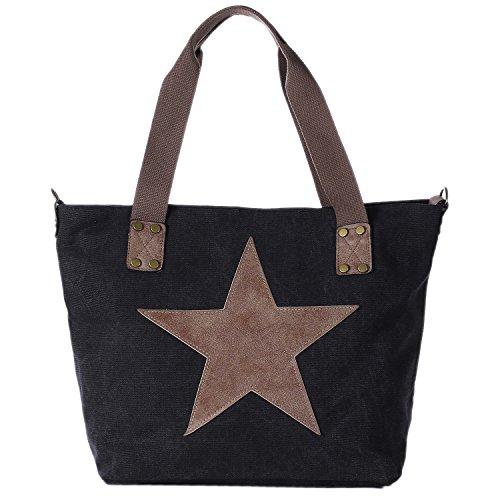 DonDon Canvas Tasche schwarz mit großem Stern Shopper Henkeltasche mit Schultergurt und Reißverschluss im Vintage Look 43 x 30 x 17 cm