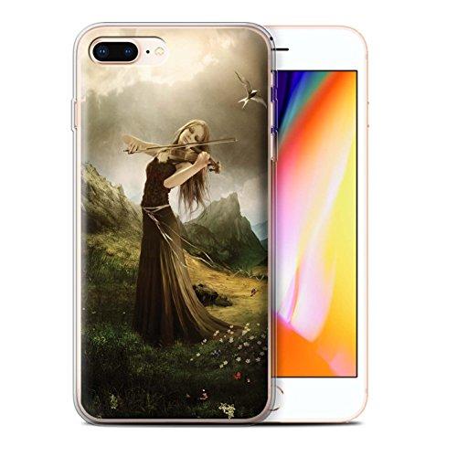 Offiziell Elena Dudina Hülle / Gel TPU Case für Apple iPhone 8 Plus / Schönheit/Violine Muster / Trost der Musik Kollektion Song von Blumen