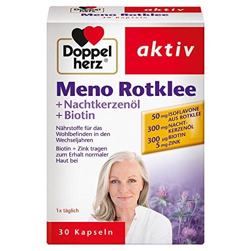 Doppelherz Meno Rotklee - Nährstoffe für das Wohlbefinden in den Wechseljahren - Mit Biotin und Zink - 1 x 30 Kapseln