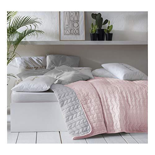 JEMIDI Tagesdecke Bett und Sofaüberwurf gesteppt 220cm x 240cm Überwurf Tagesdecke Sofa Couch Decke Husse Überwürfe Steppdecke XL XXL (Variante 1 Rosa/Grau)