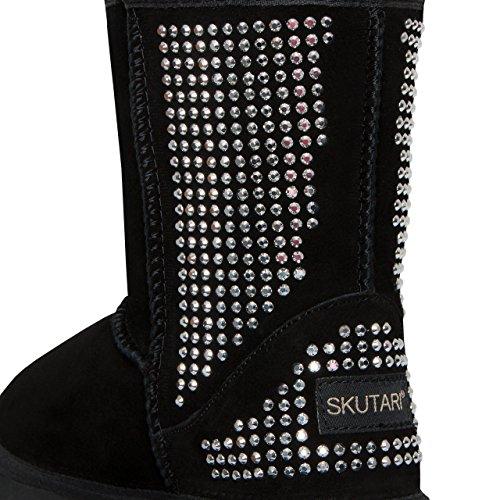 SKUTARI Wildleder Damen Winter Boots | Extra Weich & Warm Gefüttert | Schlupf-Stiefel mit Stabile Sohle | Pailletten Glitzer Meliert Schlangen-Look (38, Schwarz/5021) (Stiefel Wildleder Fell)