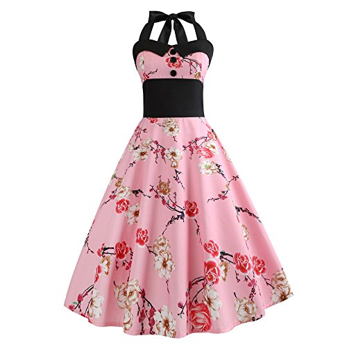 b Karneval Schlank Stil Frauen Vintage Floral Bodycon Lässige Abendgesellschaft Prom Maskerade Tanz Unregelmäßigen Swing Dress Dirndl(A-Rosa,EU-40/CN-XL) ()