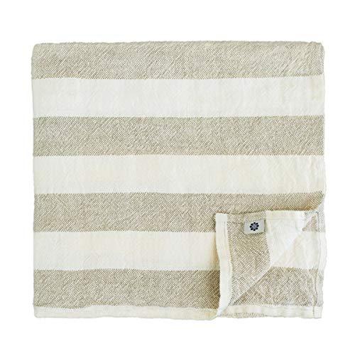 Linen & cotton asciugamano da bagno doccia marcus in lino lavato (stonwashed), morbidissimo (50 x 70cm, bianco/ beige)