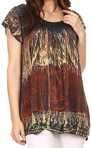 Sakkas 86957 - Sakkas Maritza Kurzarm Batik Top mit Häkeln Stickerei und Sequins - Blau / Rost - OS (Kurzarm-bluse Crinkle)