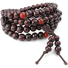 Pulsera - SODIAL(R) Pulsera de hombres mujeres de joyeria, 8mm cadena de rosario de oracion de perlas de sandalo de budista tibetano, madera, Rojo