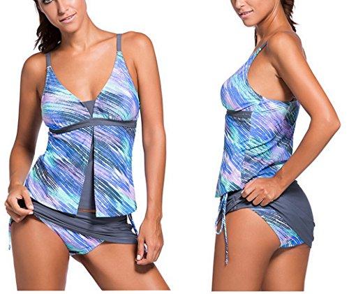 Evedaily Costumi da bagno Donna Tankini Bikini due pezzi con imbottito comodi Senza ferretto costume mare Blue