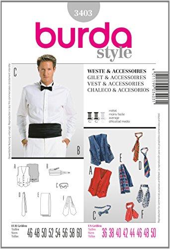 Burda B3403 Patron de Couture Gilet et Accessoires 19 x 13 cm
