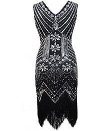 Vestido de flapper con flecos de Gatsby con flecos y escote en V para mujer de