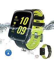 Smartwatch Yarrashop Bluetooth Smart Uhr mit Pulsmesser Armbanduhr Wasserdicht IP68 Fitness Tracker Armband Sport Uhr Fitnessuhr mit Schrittzähler Schlaf-Monitor,Setz-Alarm für Android und iOS Telefon