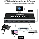 Protokart Ultra Premium HDMI Switch 4 Port With Remote Control, UHD 2K 4K Support, Full HD 1080P, 3D, Switch Splitter With Remote Control, HD Audio For Nintendo Switch, Xbox One, Roku 3, HD TV XBox PS3 PS4, 4 In 1 Out, Latest 2018 Edition, 1 Year Warranty