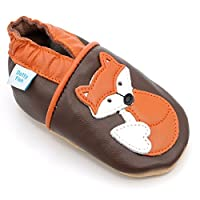 Dotty Fish Soft Leather Baby Shoes. 0-6 Months to 4-5 Years. Boys and Girls Designs with Animals. Non-Slip. Toddler Shoes.