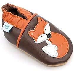 Dotty Fish Chaussures Cuir Souple bébé. Chaussures de Poussette pour Les Filles et Les garçons. Conception de Renard Marron et Orange. 18-24 Mois