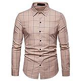 JMETRIC Classic Plaid Herrenhemd Mode Lässig Revers Tasche Langarm(Khaki,XL)