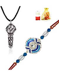 Mahi Combo Of Azure Devotion Rakhis (Raksha Sutra) And Lord Hanuman Silver Plated Pendant CO1104300R