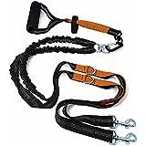 """Pet Ninja Premium Non-Tangling Dual Doppelte Hundeleine für 2 Hunde--Doppelleine zwei Hunde aus Premium-Nylon verstellbar in 2 Längen 30""""-60"""" mit bequemen Soft Grip Schaum Gummi Griff-- geeignet für kleine, mittelgroße und große Hunde"""