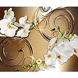 decomonkey Fototapete Abstrakt Blumen 350x256 cm XL Tapete Wandbild Wandbild Bild Fototapeten Tapeten Wandtapete Wandtapete Orchidee Muster weiß gold