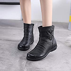 Top Shishang Weicher Boden und SAMT Baumwolle Schuhe Mutter Stiefel Runden Kopf flach Martin Stiefel Chelsea Stiefel und Stiefeletten