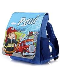Preisvergleich für Kinderrucksack Feuerwehr in blau mit Name Bedruckt ideal für Kita/Kindergarten Kindergartenrucksack