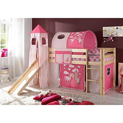 Rutschbett Kiefer massiv natur EN 747-1 + 747-2 Hochbett Kinderbett Spielbett Jugendbett Massivbett Kinderzimmer Jugendzimmer -