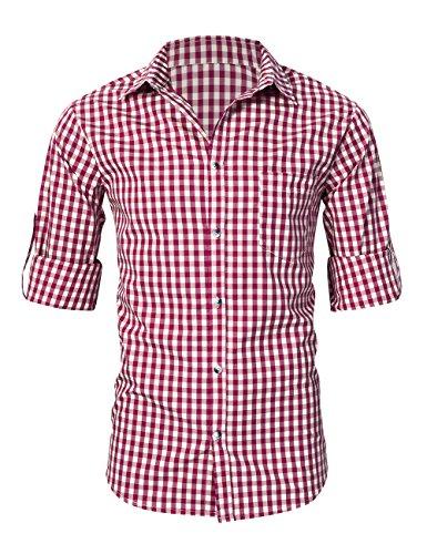 KoJooin TRACHTEN Herren Hemd Trachtenhemd Langarmhemd Freizeithemd Baumwolle - für Oktoberfest, Business, Freizeit (Rot XL) - 3
