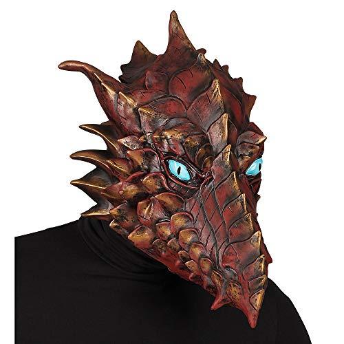 Dragón Máscara de Cabeza Completa Unisex - Adulto, Marrón, Talla Única
