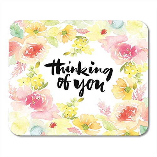 Deglogse Gaming-Mauspad-Matte, Blossom Border Watercolor Flowers Vintage Floral Wreath Birthday Bloom Bouquet Mouse Pad,Desktop Computers Mouse Mats, Border Grill 8