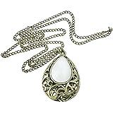 eFuture(TM) White Antique Hollow Water Drop Pendant Big Gem Stone Sweater Chain Necklace +eFuture's nice Keyring