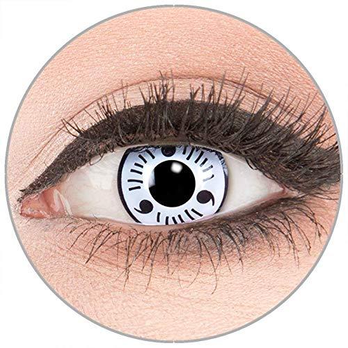 Farbige Kontaktlinsen zu Fasching Karneval Halloween in Topqualität von 'Glamlens' ohne Stärke 1 Paar Crazy Fun weiße 'White Sharingan' mit Behälter