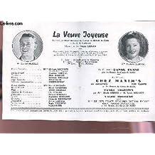 PROGRAMME OFFICIEL DU GRAND THEATRE DE BORDEAUX / LA VEUVE JOYEUSE avec Marcel MERKES et Paulette MERVAL - Danse russe - Chez MAxim's - Tango argentin - Valse moderne.